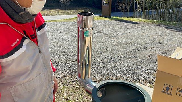 クッキングストーブに煙突を付ける